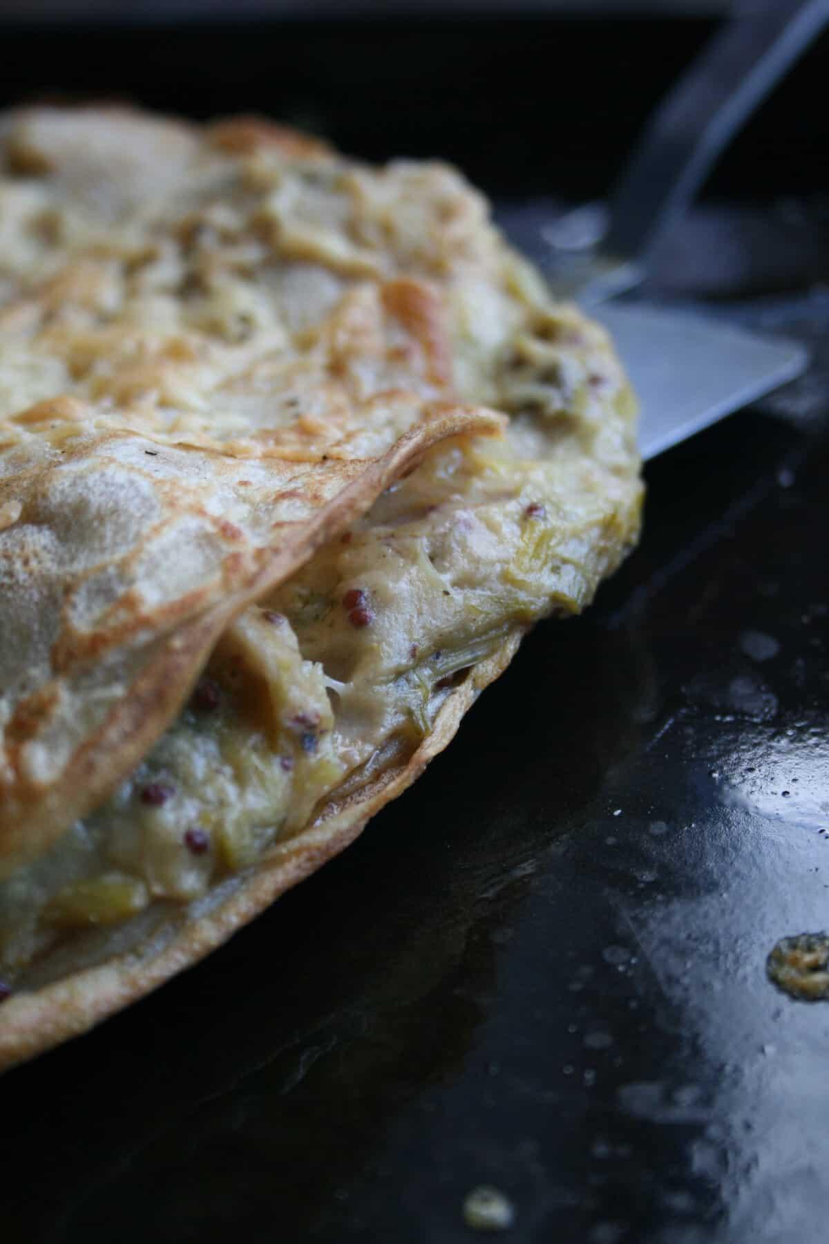Chicken, Leek and Wholegrain Mustard Buckwheat Pancakes - crispy baked buckwheat pancakes with a super savoury filling   eatloveeats.com