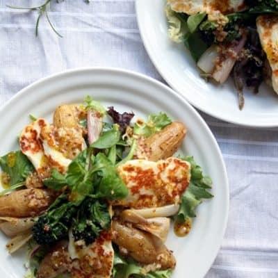 Roasted Shallot and Potato Salad with Halloumi