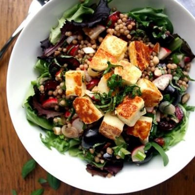 Cherry and Halloumi Maftoul Salad