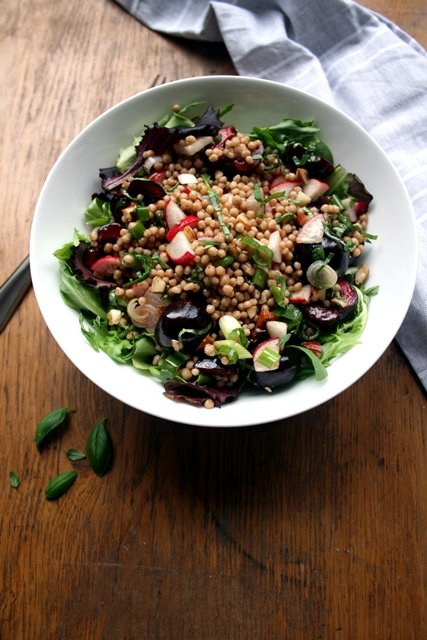 Cherry and Halloumi Maftoul Salad - a delicate summer salad celebrating the best Kentish cherries | eatloveeats.com