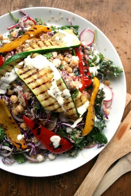 Baby Kale Quinoa Salad with Chargrilled Veg - this nutritious salad is super filling and completely vegan | eatloveeats.com