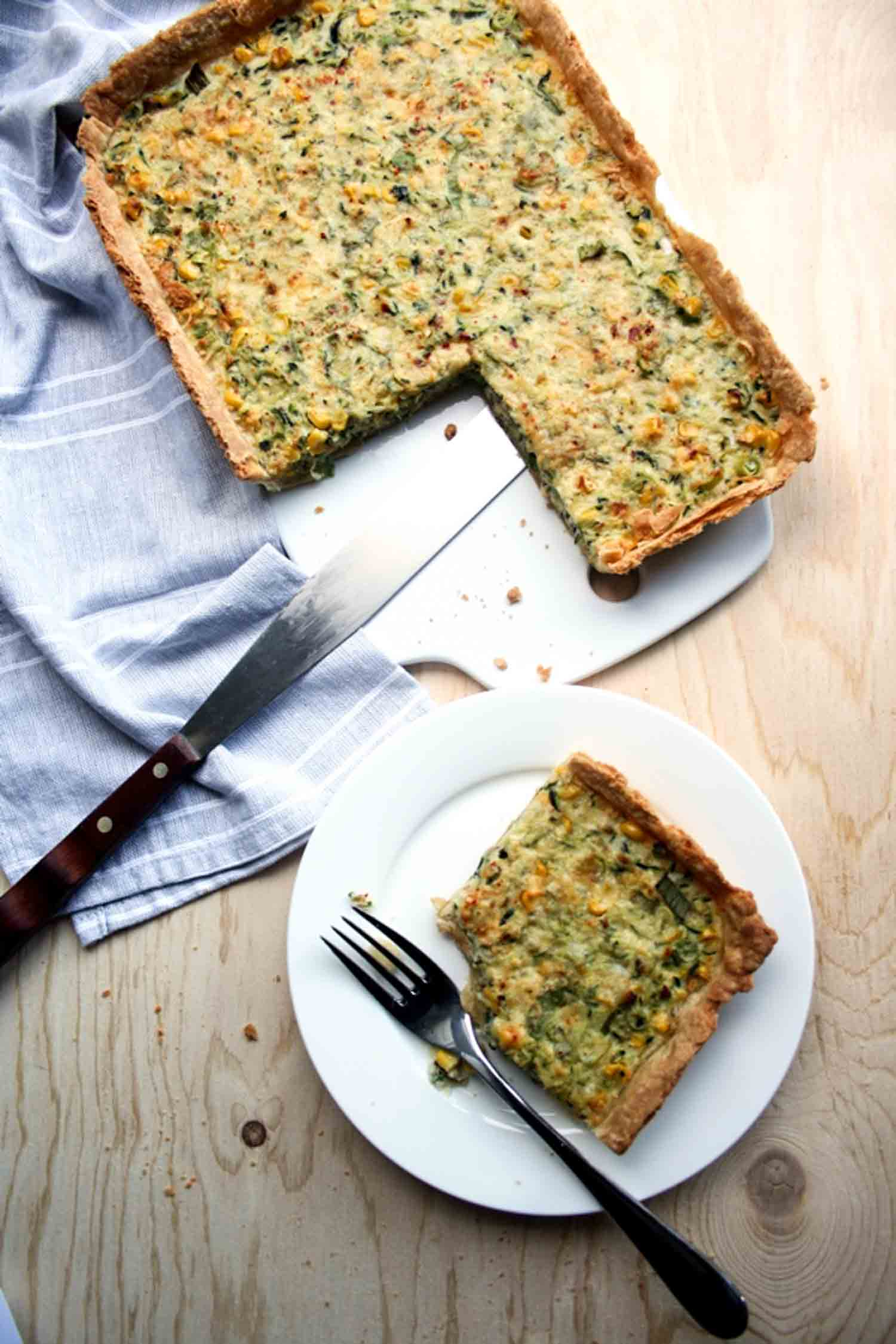 Courgette and Sweetcorn Tart
