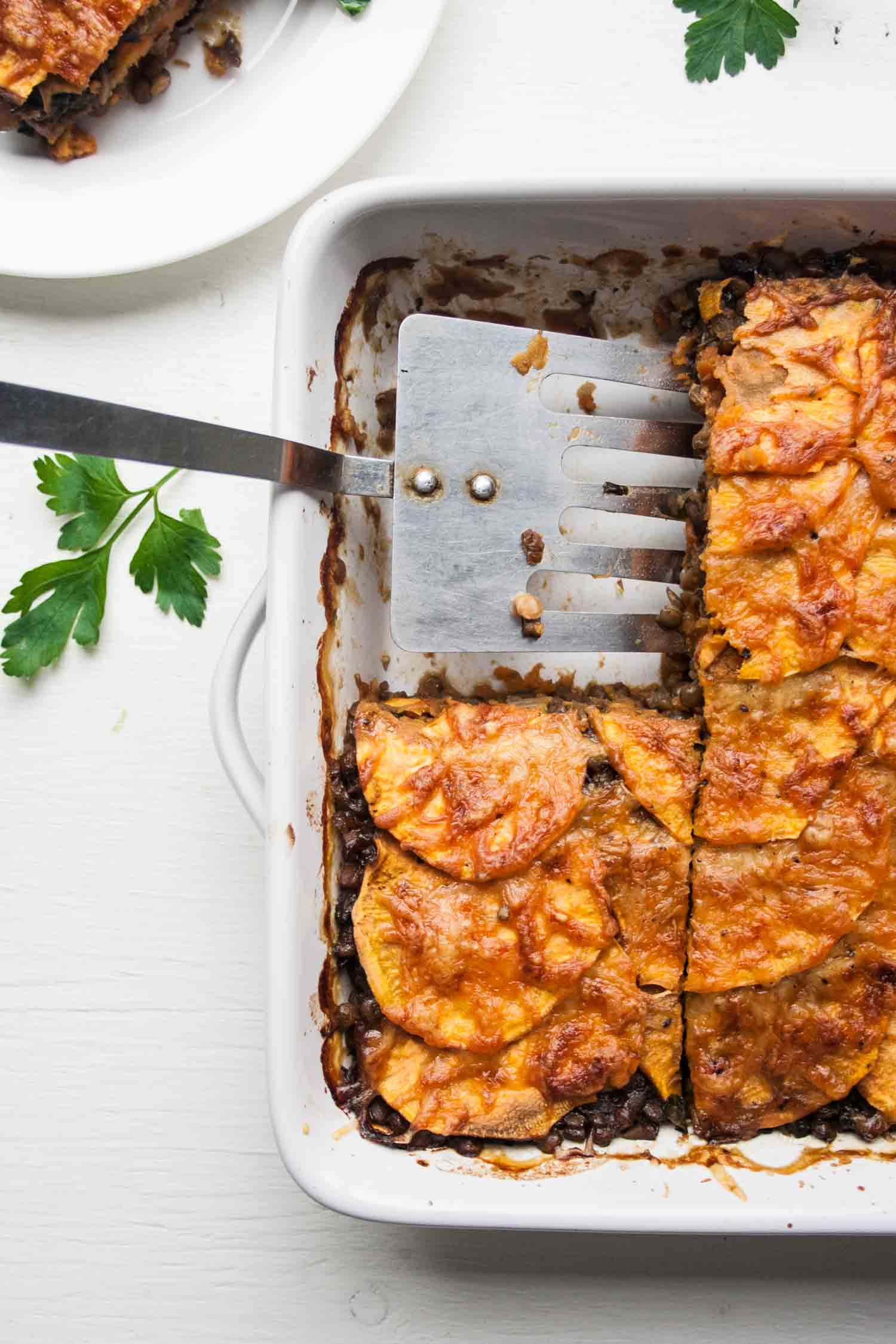 Lentil and Sweet Potato Lasagne - a super savoury vegetarian recipe that just happens to be healthy too! | eatloveeats.com