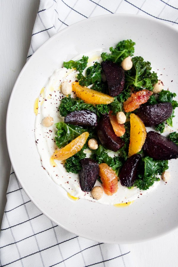 Beetroot and Blood Orange Salad with Labneh  Beetroot and Blood Orange Salad with Labneh - a simple vegetarian salad, packed full of delicious winter produce and super easy creamy homemade labneh | eatloveeats.com