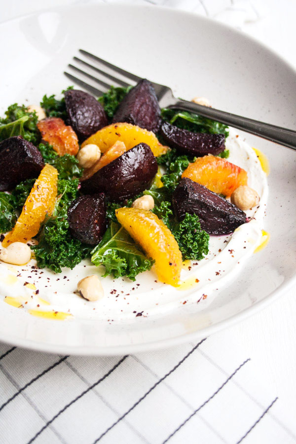 Beetroot and Blood Orange Salad with Labneh  Beetroot and Blood Orange Salad with Labneh - a simple vegetarian salad, packed full of delicious winter produce and super easy creamy homemade labneh   eatloveeats.com