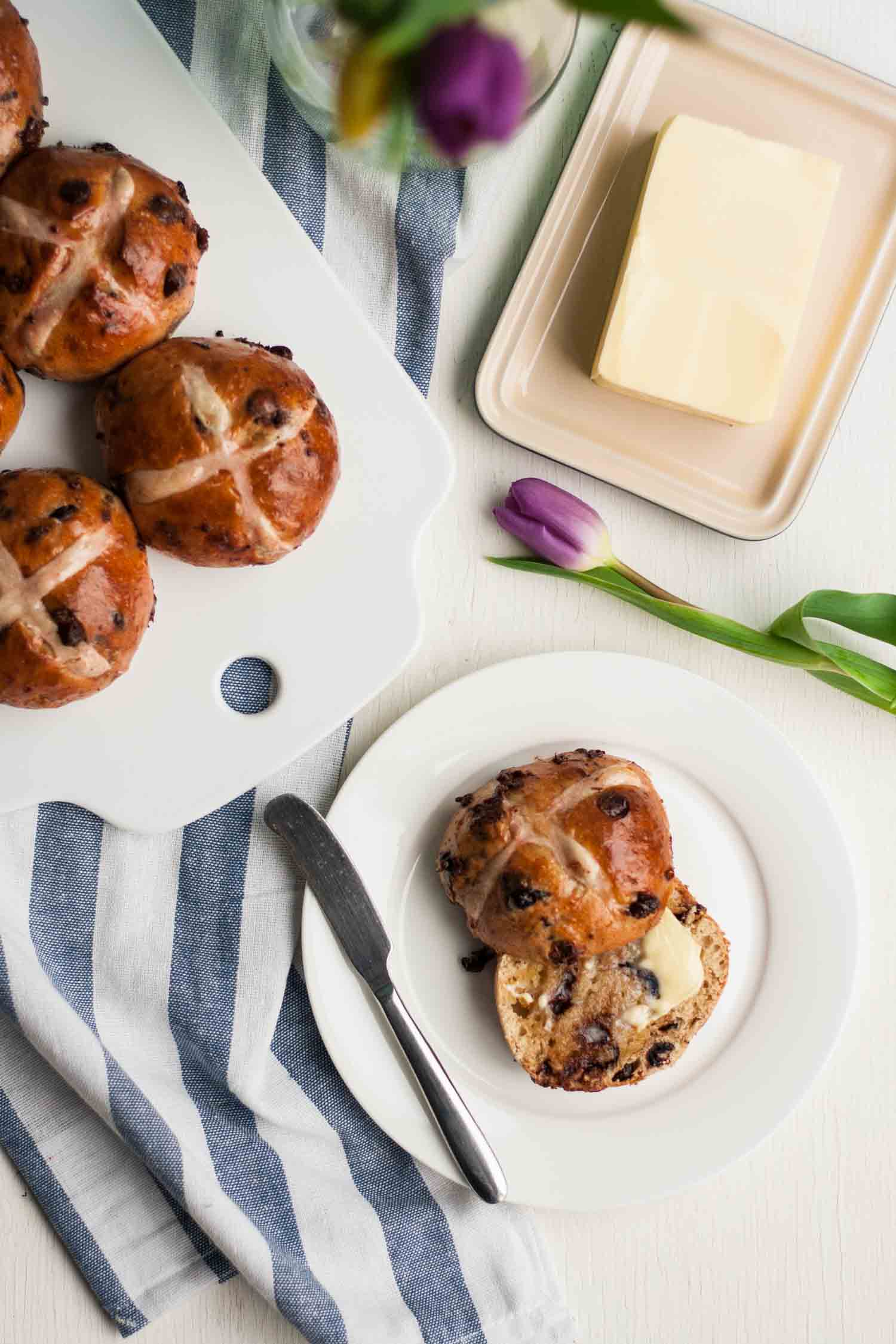 Chocolate Cherry Hot Cross Buns These Richly Spiced And Pillowy Soft Hot Cross Buns Are