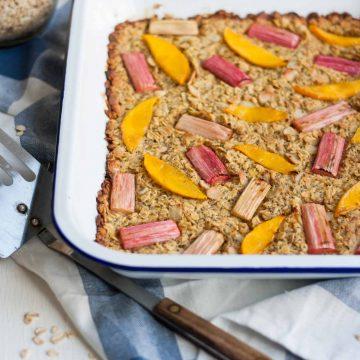 Rhubarb and Mango Baked Oatmeal