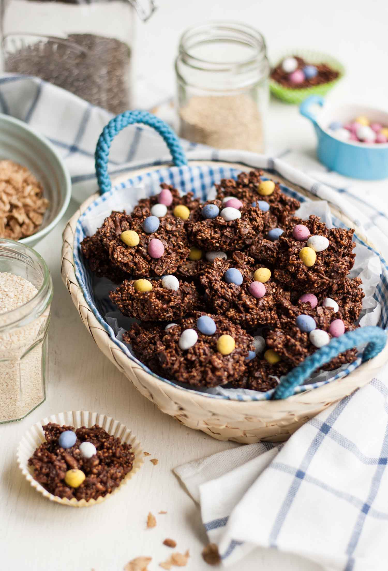 Super-Seeded Easter Nests - this recipe for crispy Easter nests, full of wholesome nuts and seeds, can be whipped up in 15 minutes for a quick and easy treat!   eatloveeats.com