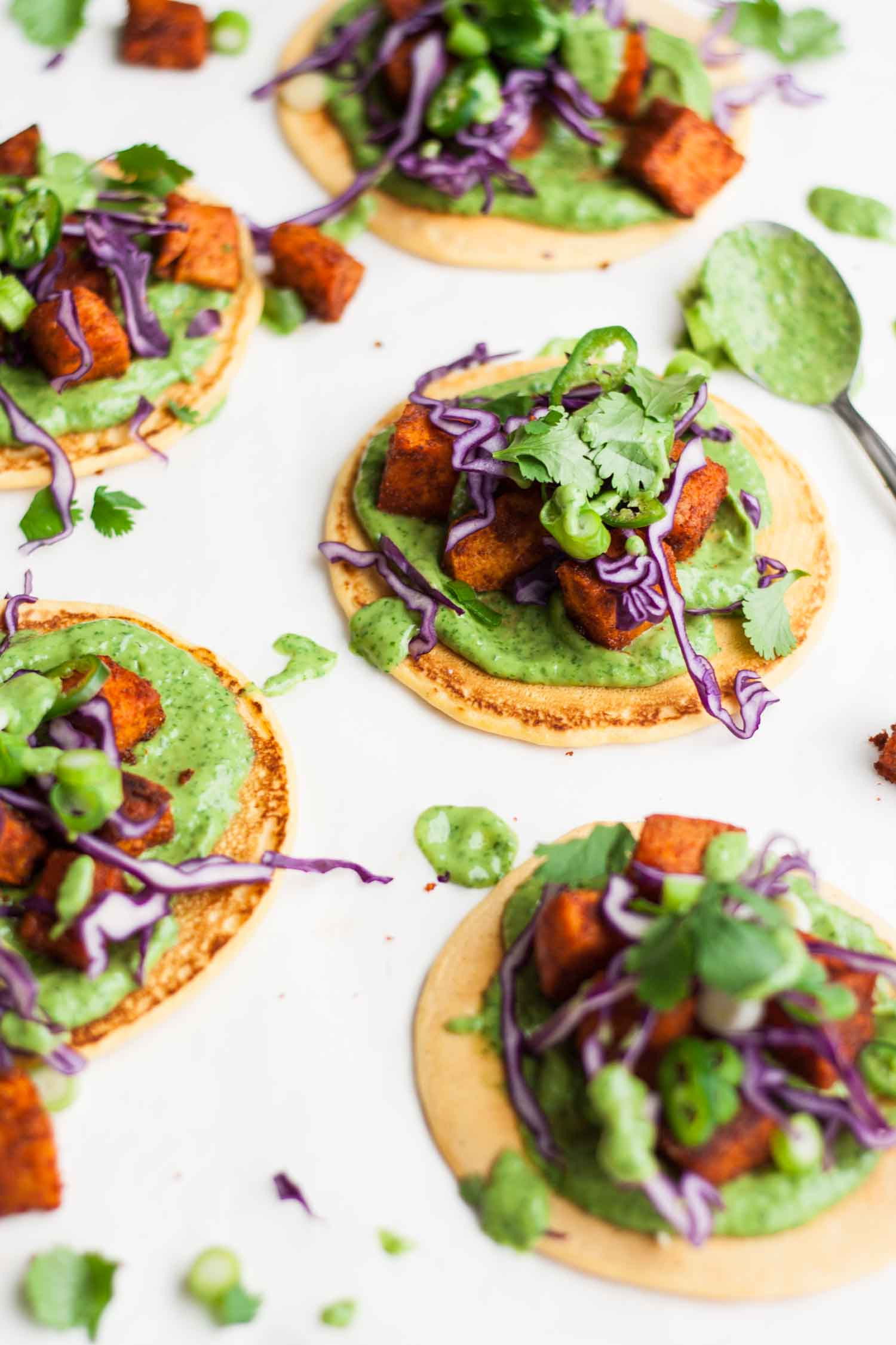 Tandoori Sweet Potato Socca Pizzas - these gluten free and vegan socca pizzas are easy to make and full of flavour, great for feeding a crowd! | eatloveeats.com