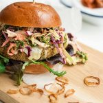 Veggie Burger with Chipotle Kale Coleslaw - these hearty burgers are packed full of goodness, the perfect healthy comfort food | eatloveeats.com