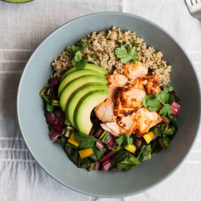 Baked Chipotle Salmon and Freekeh Bowls