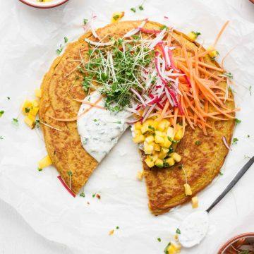 Onion Bhaji Pancake with Mango Salsa