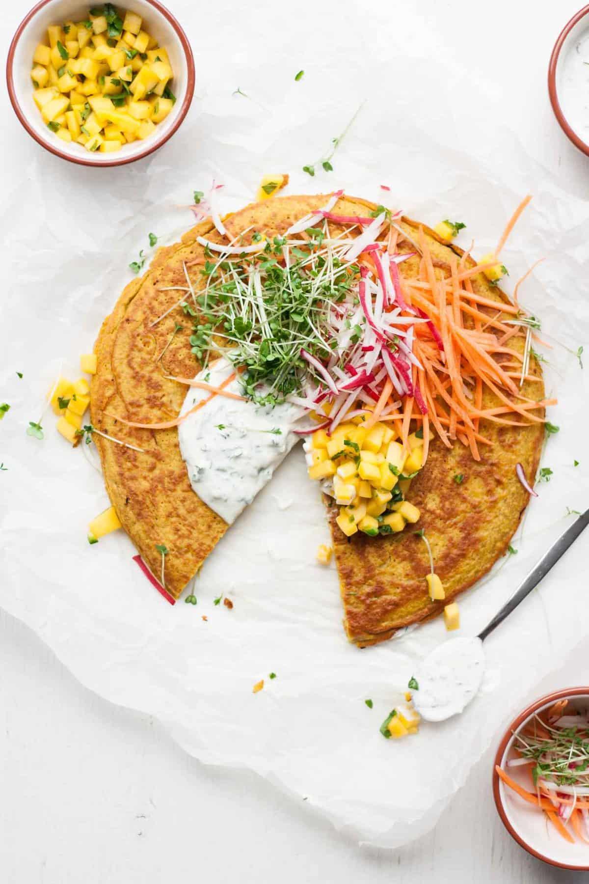 Onion bhaji pancake with mango salsa eat love eat onion bhaji pancake with mango salsa forumfinder Gallery