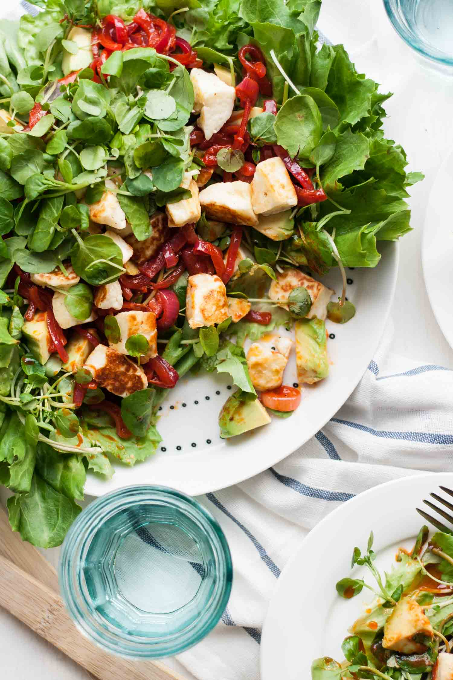 Smoky Halloumi Avocado Salad - a simple salad recipe, full of flavour and textures, a perfect light evening meal for spring | eatloveeats.com