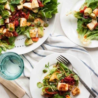 Smoky Halloumi Avocado Salad