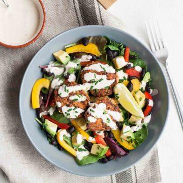Cajun Salmon Slider Salad with Habanero Lime Dressing