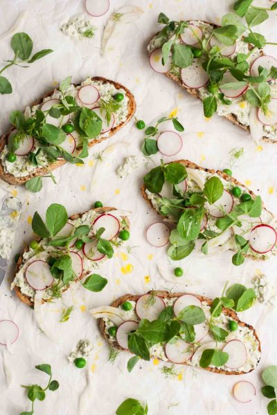 Pea, Radish and Fennel Tartines