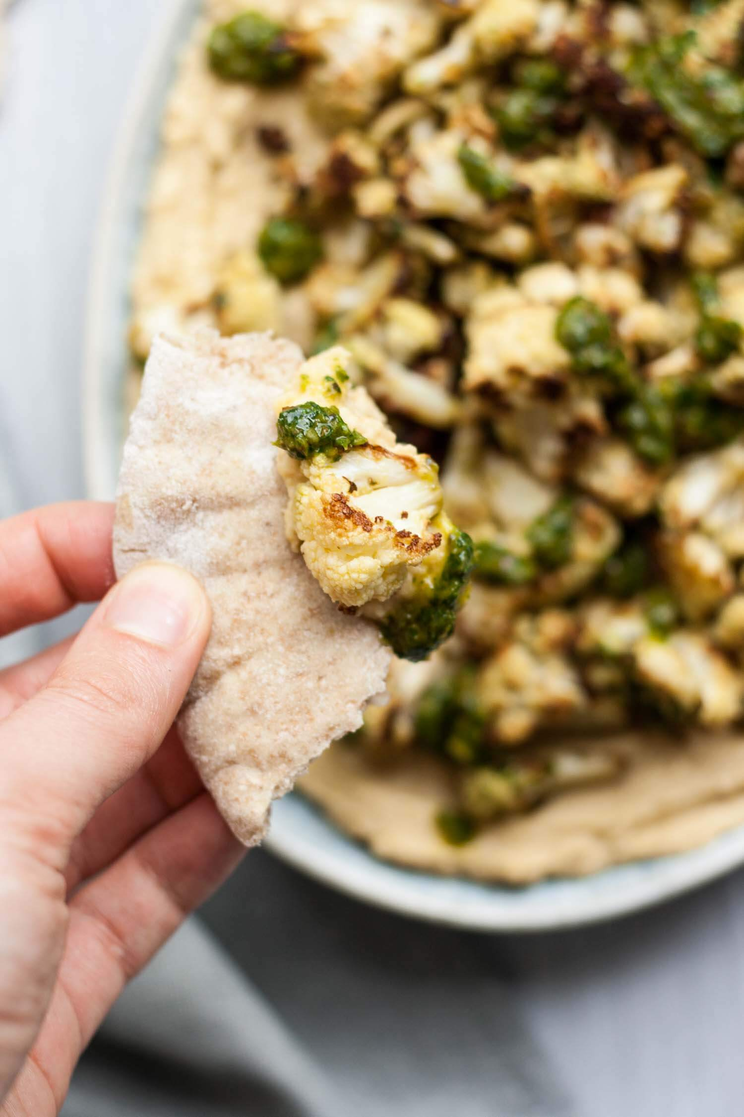 Loaded Chimichurri Cauliflower Hummus - this easy vegan appetizer recipe packs a serious flavour punch! | eatloveeats.com