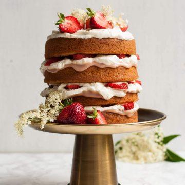 Strawberry and Elderflower Curd Cake