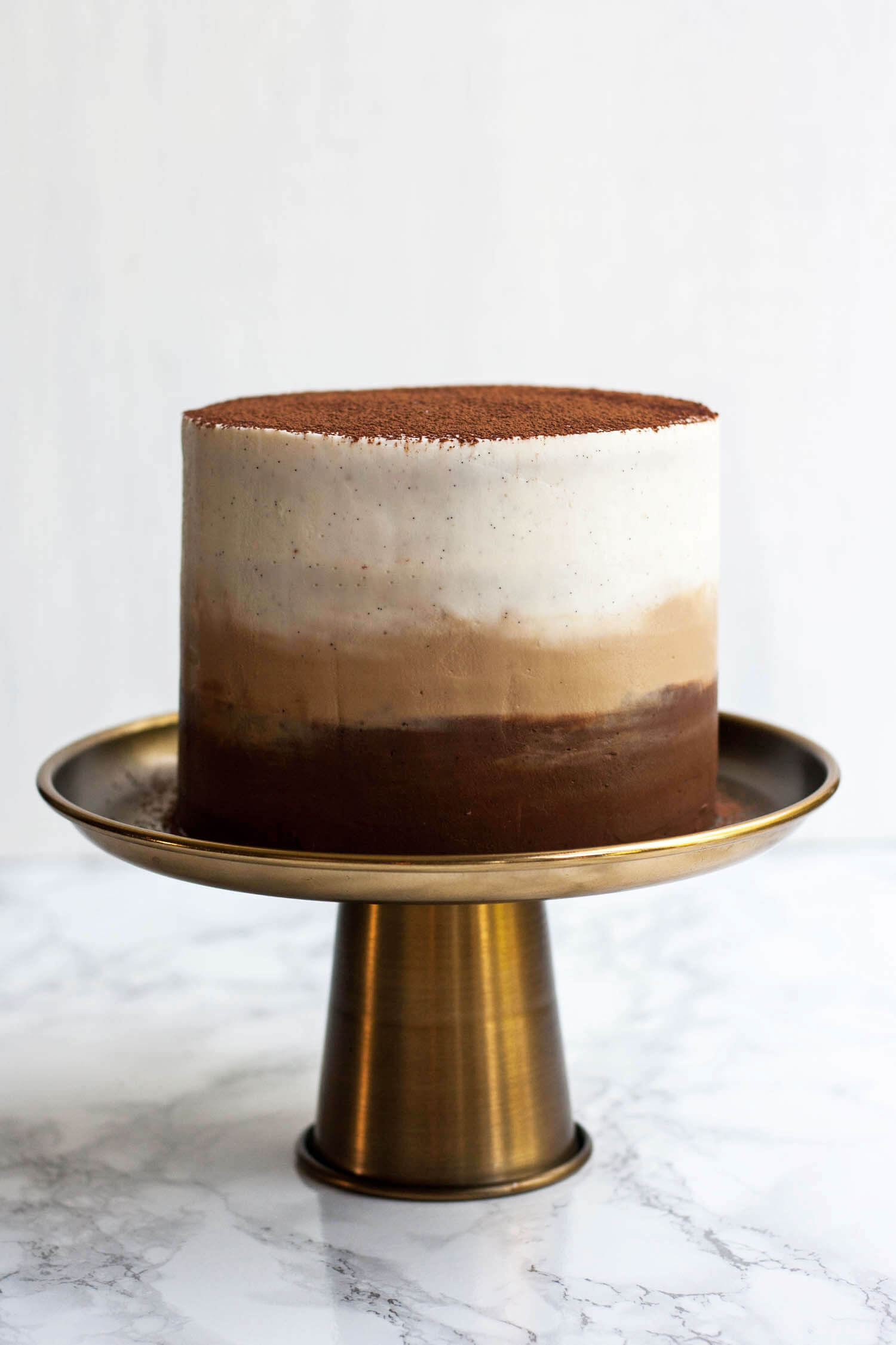 Tiramisu Layer Cake with Ombre Mascarpone Frosting