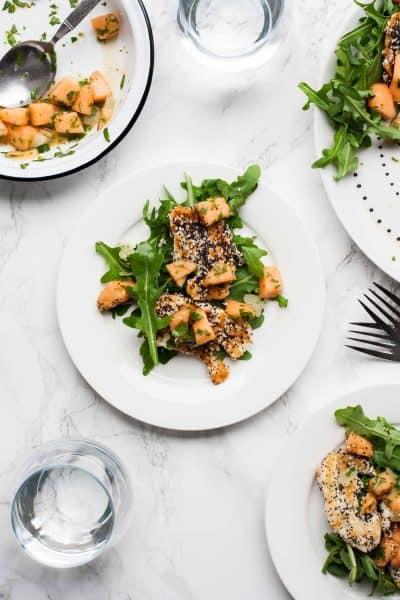Cantaloupe, Lime and Halloumi Salad