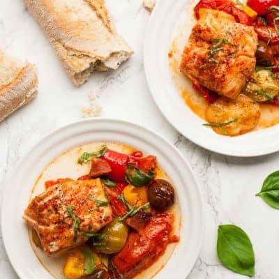 Roasted Heirloom Tomatoes with Cod and Chorizo