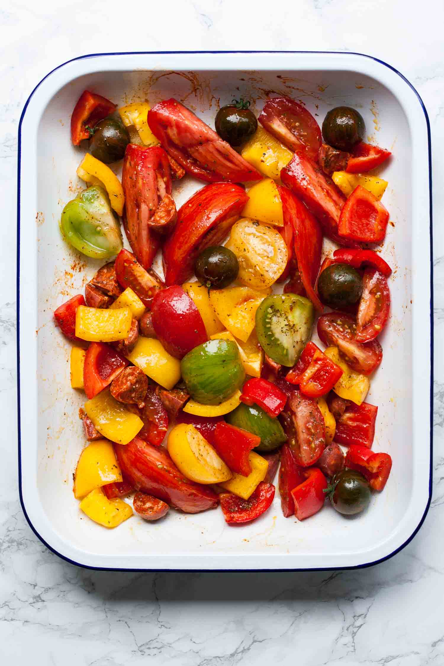 Roasted Heirloom Tomatoes with Cod and Chorizo - this simple summer ...
