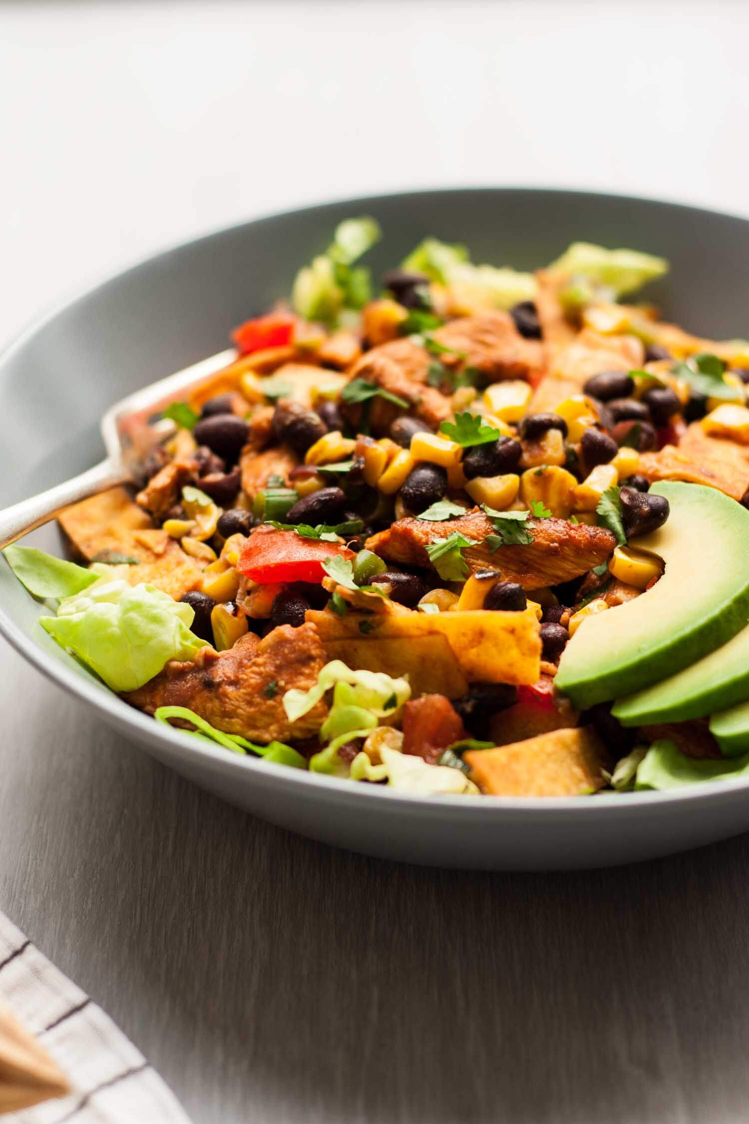 Chicken Tostada Salad - this Mexican inspired salad is packed full of smoky, tangy flavour and incredible texture   eatloveeats.com