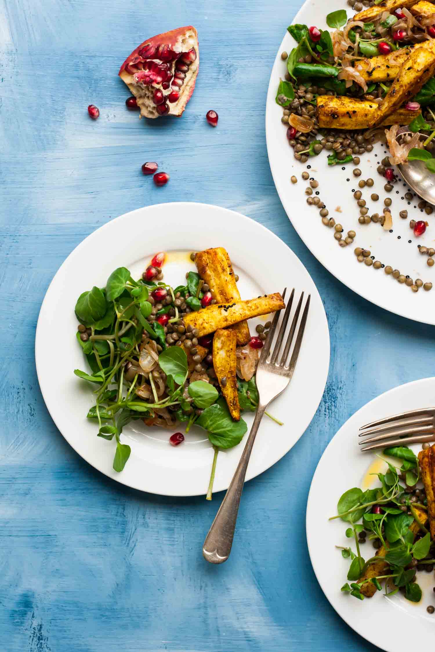 Indian-Spiced Parsnip & Lentil Salad - a warmly spiced and nourishing salad, perfect for chilly days when you're craving something lighter yet still satisfying   eatloveeats.com