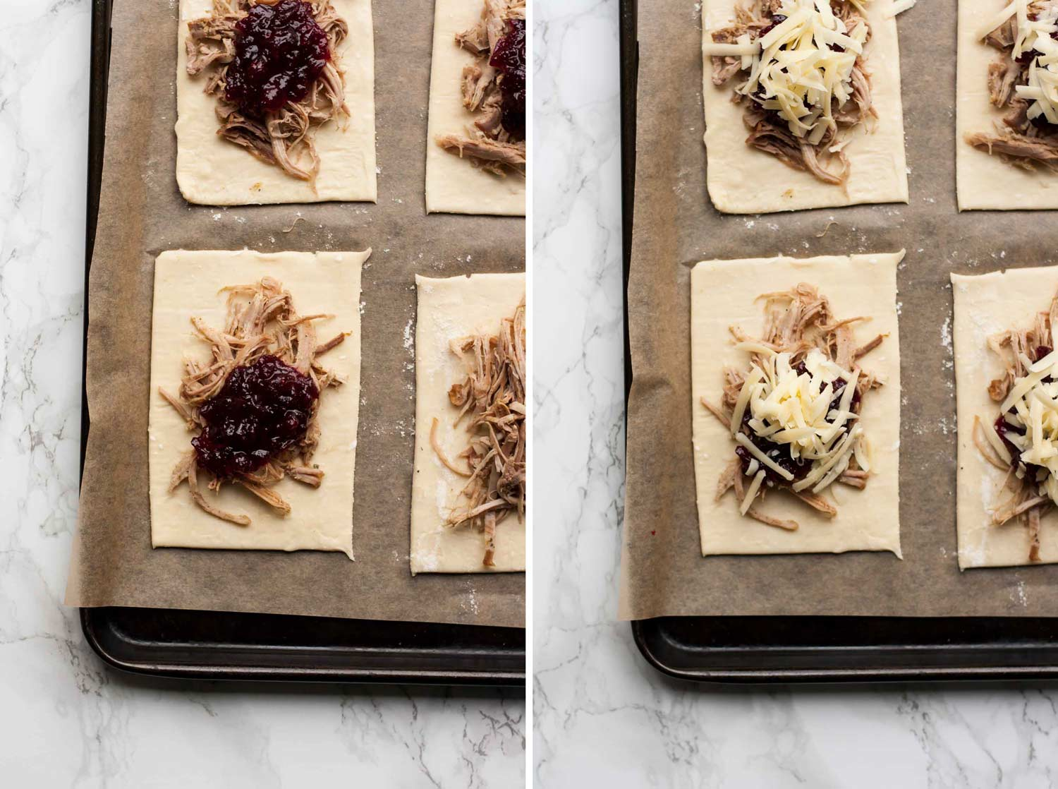 Spiced Leftover Turkey Cranberry Pastries - a simple, yet delicious way to use up those leftovers from Christmas dinner! | eatloveeats.com