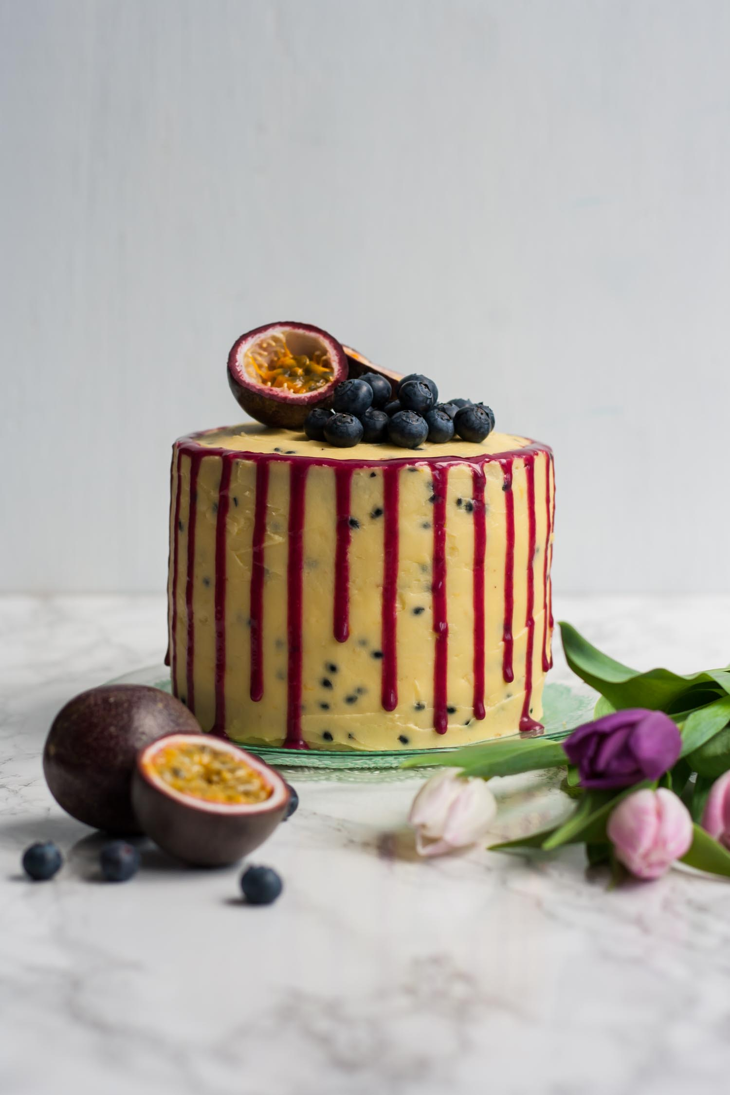 Blueberry Passionfruit Layer Cake - a bright and zingy tropical cake, perfect for a celebration! | eatloveeats.com
