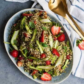 Strawberry Asparagus Buckwheat Salad