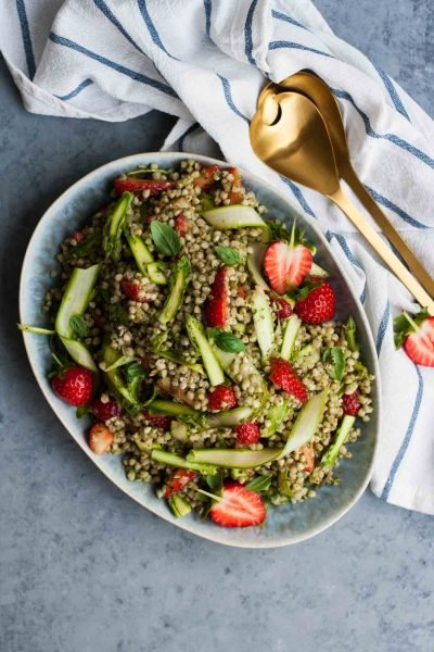 Strawberry Asparagus Buckwheat Salad