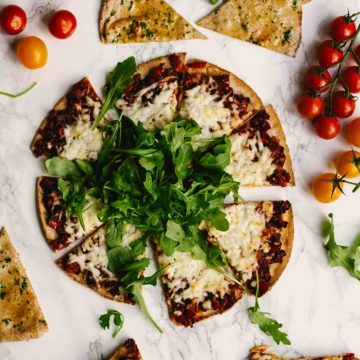 Harissa Halloumi Flatbreads with Red Peppers Recipe   Appetizers   Lunch   Dinner   Vegetarian