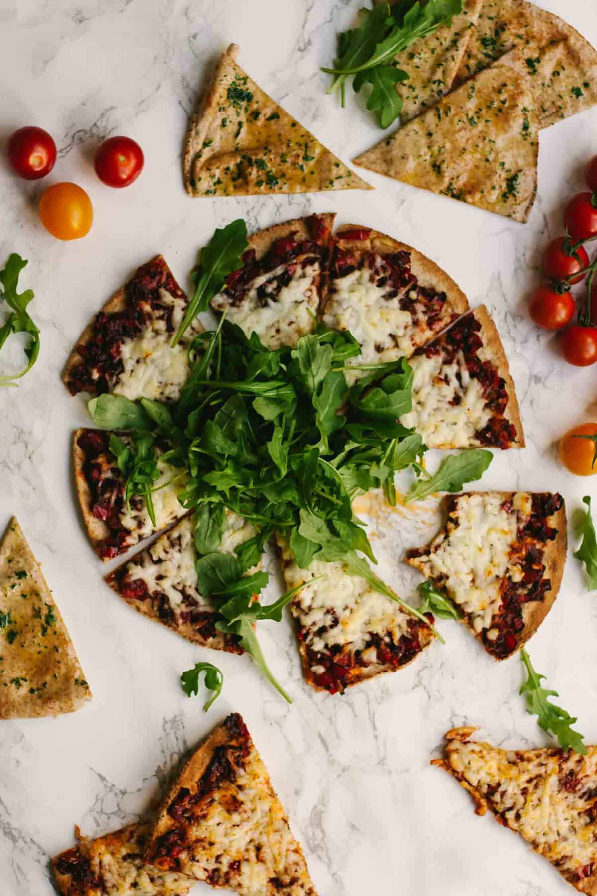 Harissa Halloumi Flatbreads with Red Peppers Recipe | Appetizers | Lunch | Dinner | Vegetarian