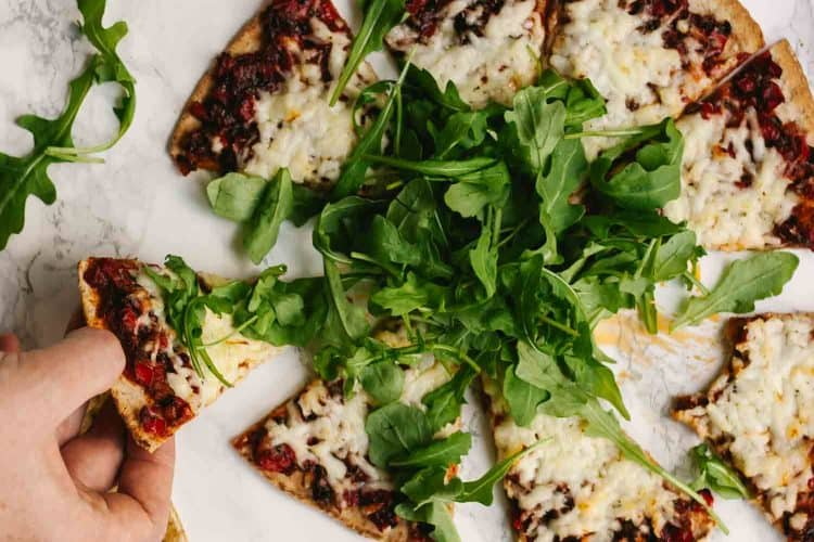 Harissa Halloumi Flatbreads with Red Peppers