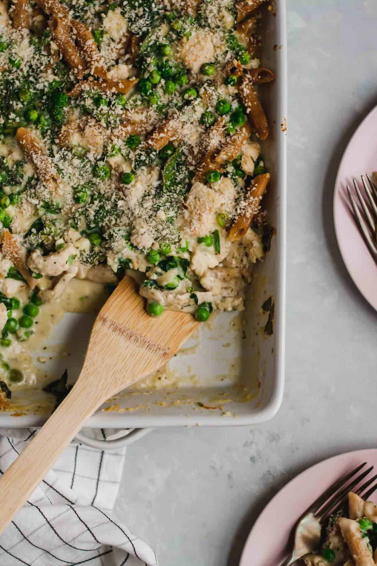 Chicken Pasta Bake with Feta and Peas