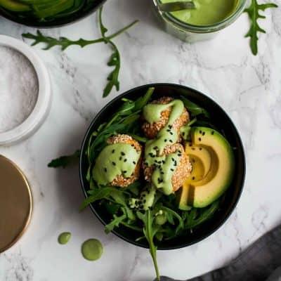 Sesame Sweet Potato Falafels with Green Tahini Sauce