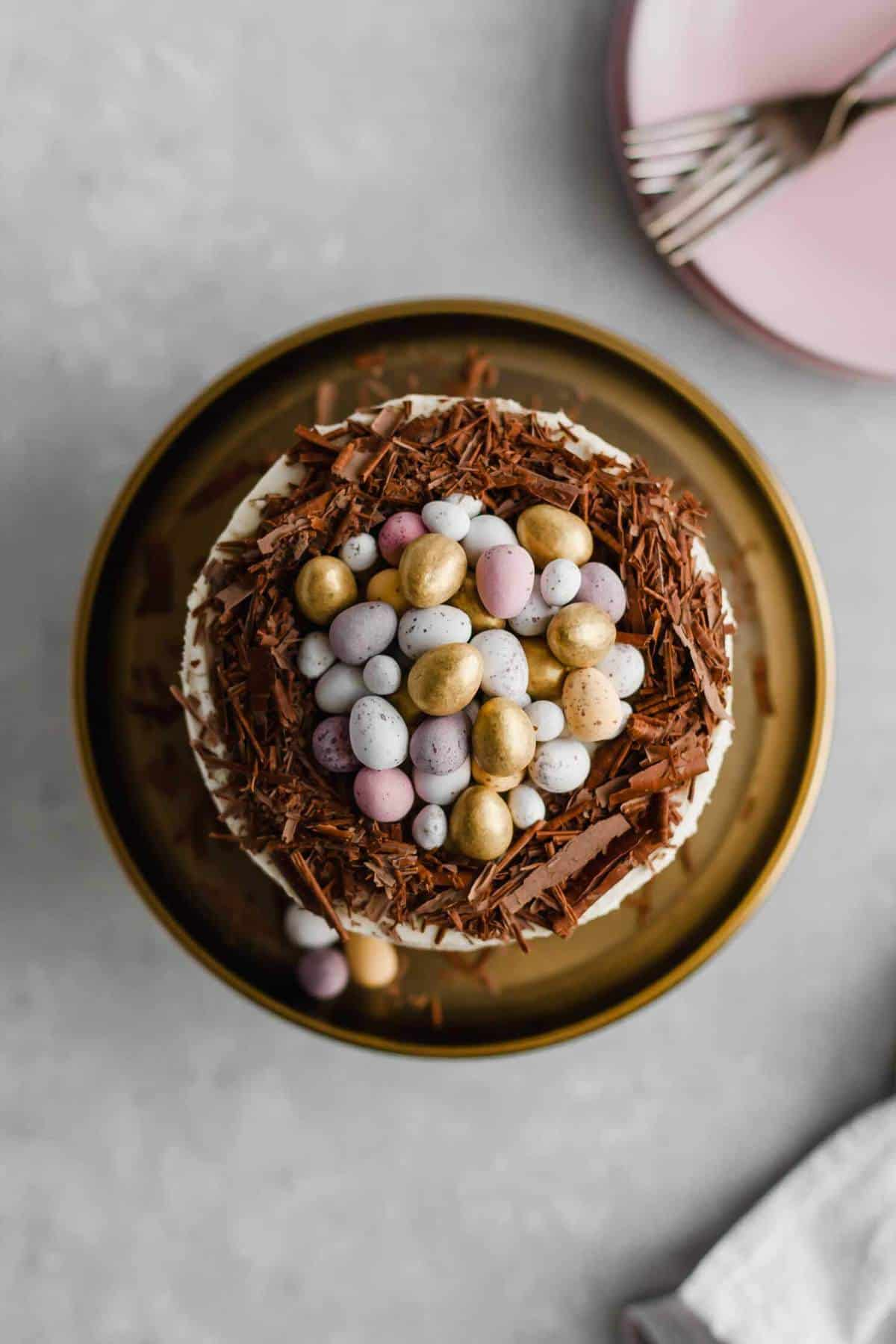 Brown Butter Chocolate Chip Easter Nest Cake