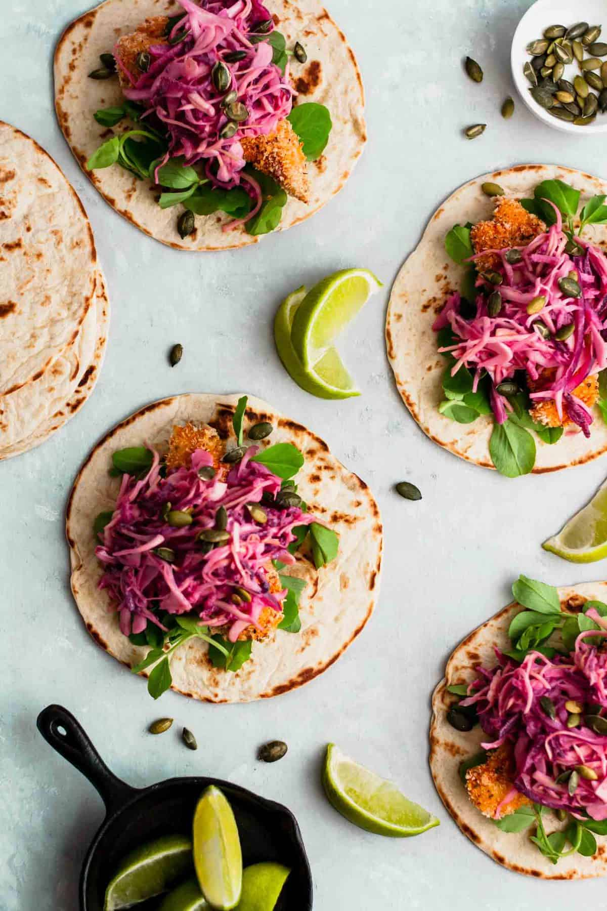 Crispy Chicken Tacos with Beetroot & Apple Slaw