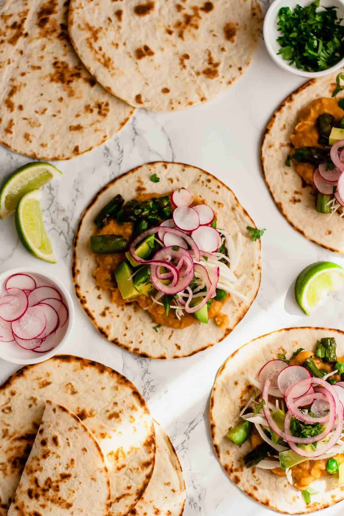 Vegan Tacos with Refried Cannellini Beans and Asparagus
