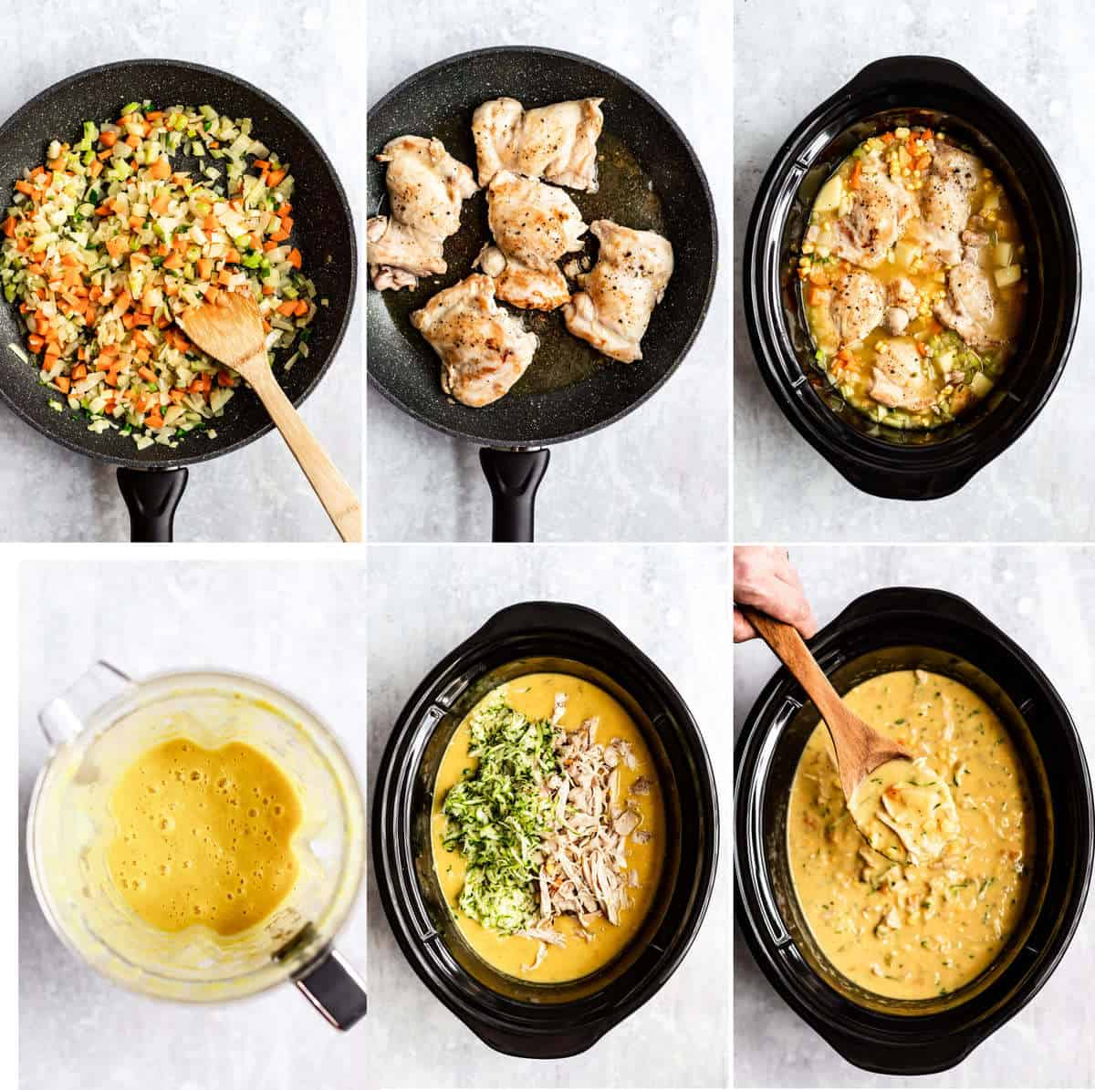 collage of photos showing the process of how to make corn chowder in the slow cooker