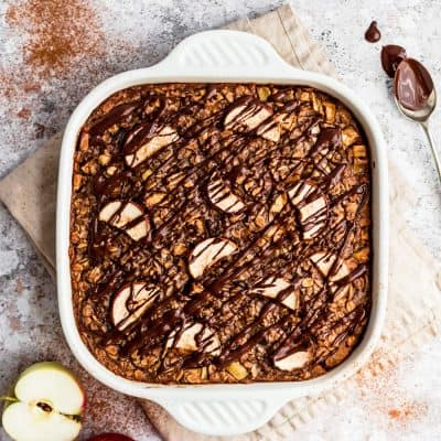 Apple Baked Oatmeal with Dark Chocolate and Ginger