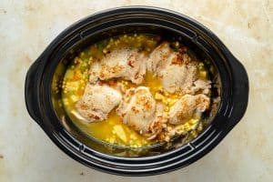 All ingredients into slow cooker dish