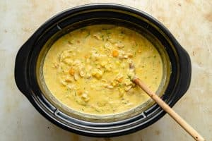 finished chicken corn chowder in slow cooker
