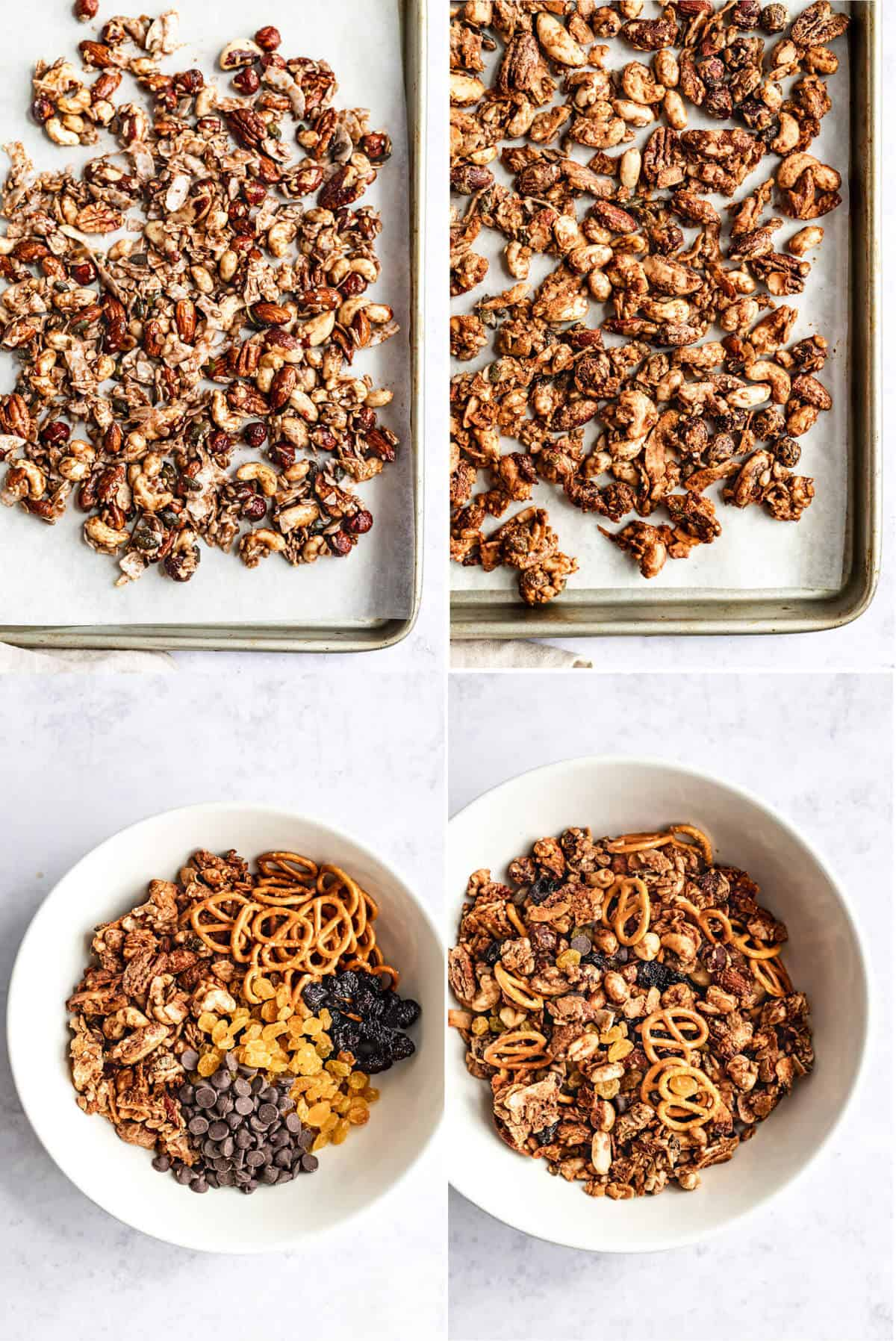 collage showing the process of baking and assembling the maple almond butter snack mix