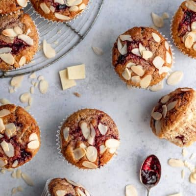 White Chocolate Cherry Sourdough Muffins