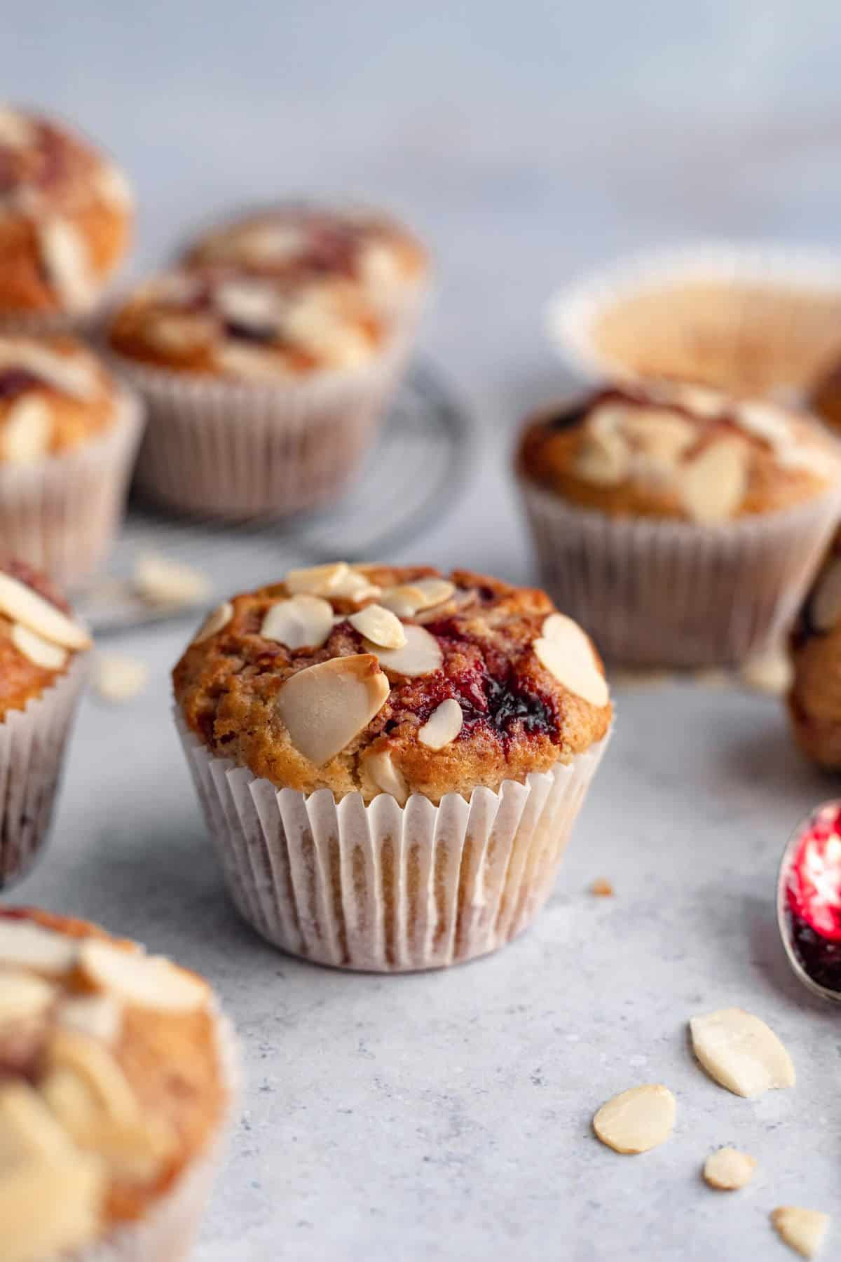 a close up shot of a sourdough muffin