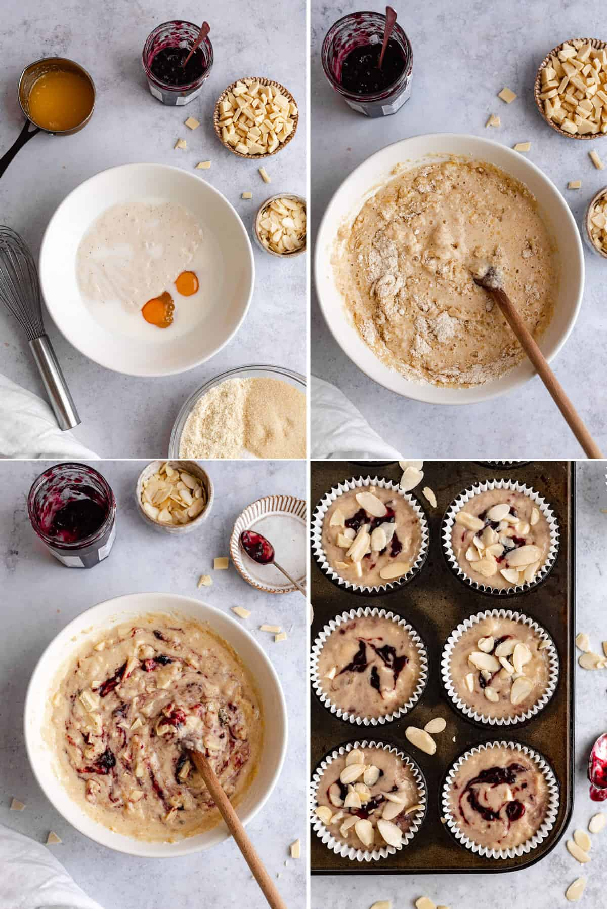 collage of images showing the process of making muffins