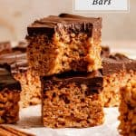 Rice Krispie bars with a bite taken out of it